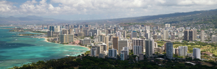 honolulu and waikiki beach from diamond head crater